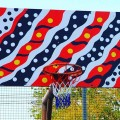 The incredible design of the basketball back boards in #Maningrida, painted by the students themselves #westarnhemland #westarnhem #westarnhemlandart