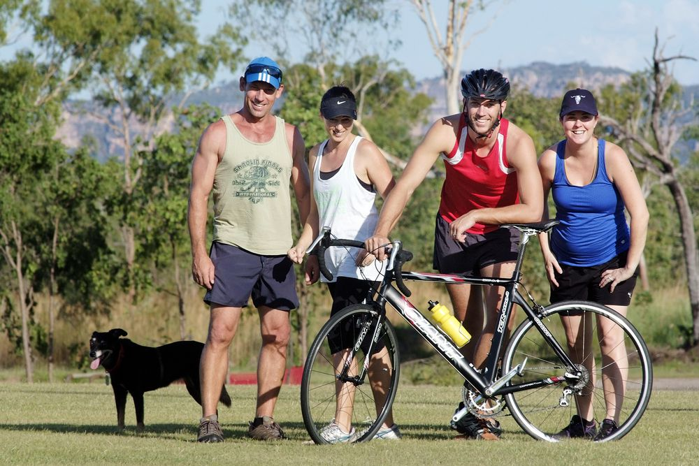 Jabiru's Phil and Belinda Maunder and Anthony and Jill Reid are encouraging competitors to go all out for their personal best in this year's Kakadu Triathlon. Registrations open Tuesday 1 April. Will you take the plunge?