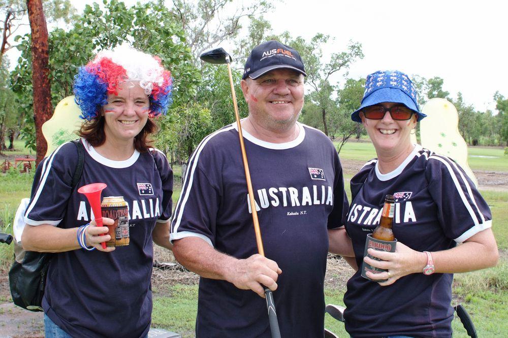 Tracy Spicer, Peter Veldhoen and Sandie Beaumont display their Aussie pride to win Best Dressed in the Jabiru Golf Club Australia Day Ambrose event.