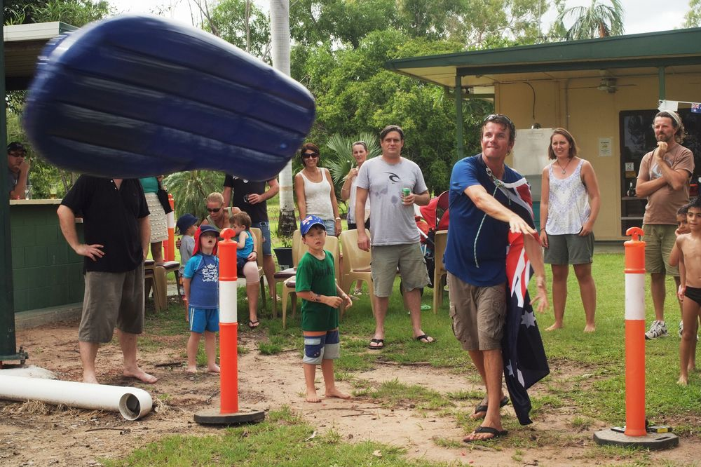 Champo wins a $50 voucher from Muzz-za's in the 'grown-up' category of the Jabiru Thong Throw.