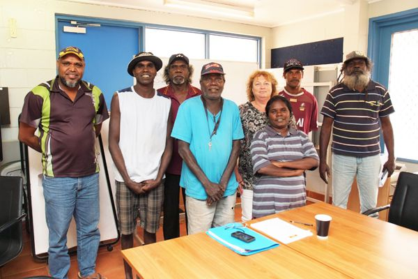 Maningrida Local Authority members Matthew Ryan, Marcus Pascoe, Steven Milaidjaidj, Chairperson Baru Pascoe, Catherine Wales, Deputy Chair Bernadette Yibarbuk, Steven Wilson and Charlie Gunabarra at the first official meeting on Wednesday 16 July.