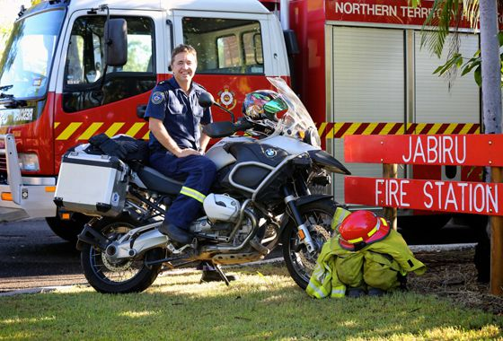 Officer in Charge at the Jabiru Fire Station Mick Hutton saddled up and ready for his fundraising adventure. PHOTO: MIKE MARTIN