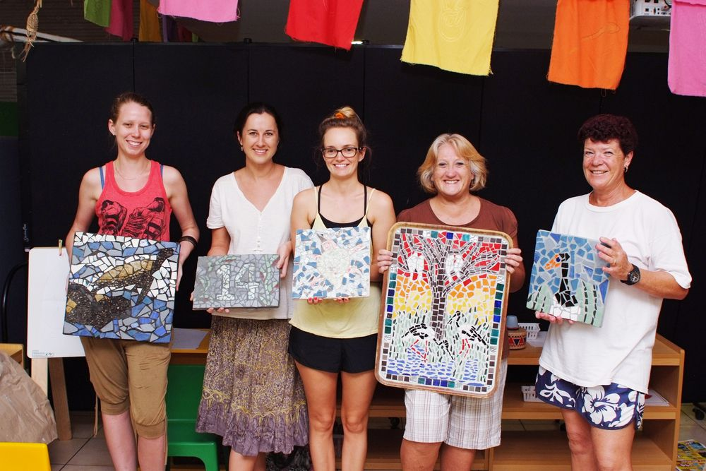 Jabiru Art and Craft Group members Danielle Hore, Lana Davis, Clancy Allen, Lise Seini and Karen Beare with their mosaic works.