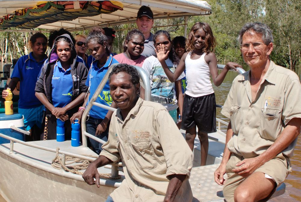 Neville Namamyilk and Trevor Wie from Kakadu Cultural Tours with students from Jabiru Area School and teacher Paul Pollock at Magela wetlands.